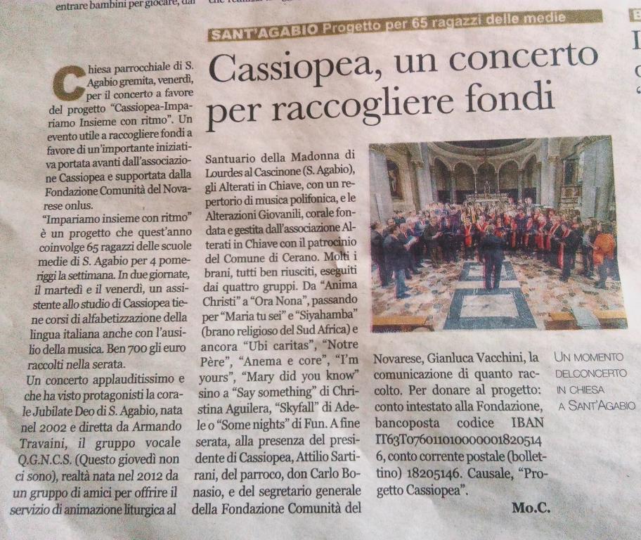 Cassiopea concerto raccogliere fondi
