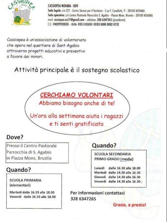 Cassiopea cerchiamo volontari 2019