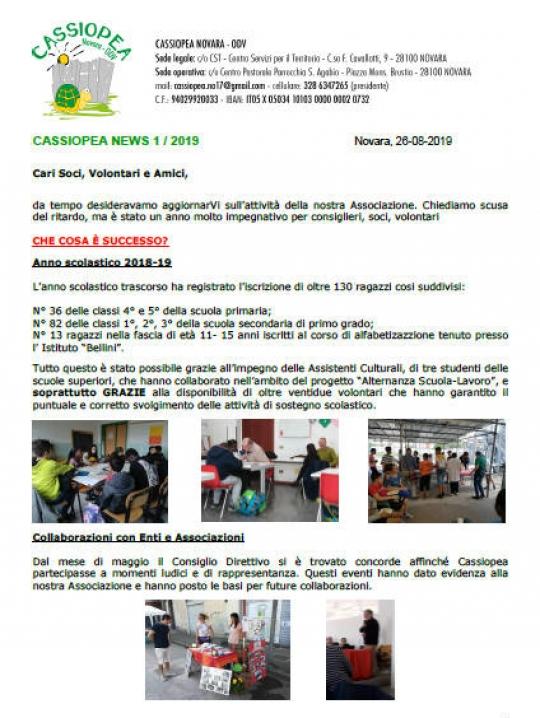 Cassiopea News 1 2019